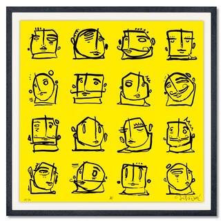 Steffen Mumm – Square Heads Steffen Mumm: Der Geheimtipp großer Interior-Artists und Store Designer.Der aufstrebende Street-Art-Künstler editiert sein Lieblingswerk – exklusiv für Pro-Idee. 30 Exemplare. Maße: gerahmt 70 x 70 cm