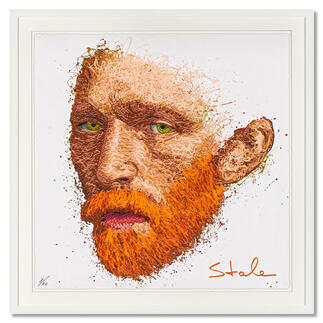Stale Amsterdam – Vincent van Gogh Stale Amsterdam: Senkrechtstarter dank weltweit einzigartiger Technik. Bemerkenswertes van Gogh-Portrait, im Action Painting erschaffen. 40 Exemplare. Maße: gerahmt 72 x 72 cm