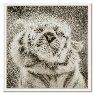 Koshi Takagi – Tiger Fotorealistische Bleistiftzeichnung. Mit über 1 Million handgemalten Strichen. Koshi Takagis neueste Edition. 40 Exemplare. Maße: gerahmt 103 x 103 cm