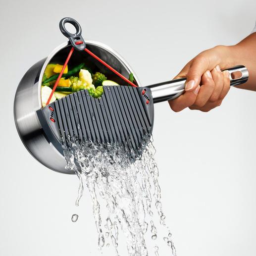 """Abgießer """"Flexy"""" - Keine verbrühten Finger. Das Kochgut bleibt sicher im Topf. Nichts kann mehr in die Spüle rutschen."""