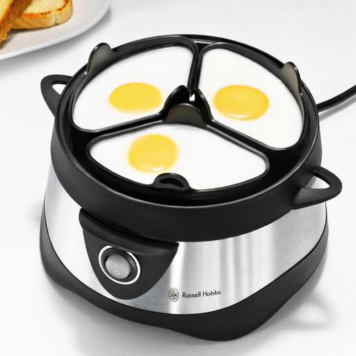 Einfach je ein aufgeschlagenes Ei in ein Pochierschälchen geben, Wasser einfüllen und einschalten. Das Ergebnis: Eine köstliche Variante zum gewohnten Frühstücksei.