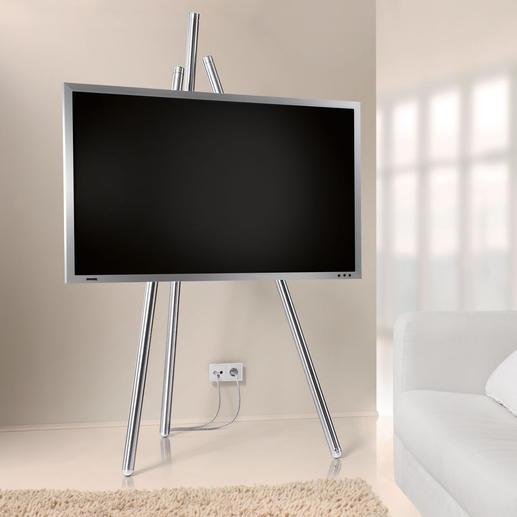 Flat-TV-Staffelei, Version ab 2017 Bietet beste Sicht auf Ihren Flachbild-Fernseher. Und lässt unschöne Kabel geschickt verschwinden.