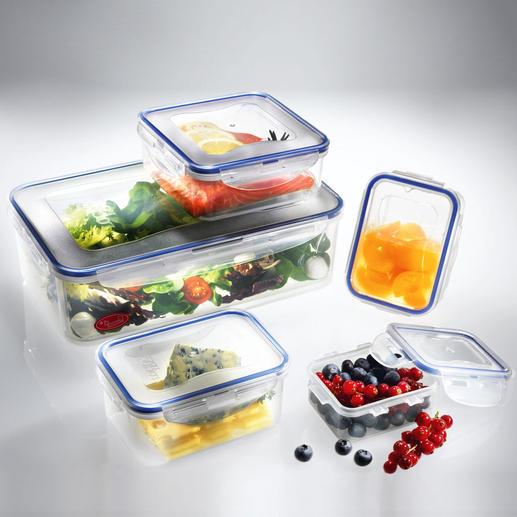 """""""Lock & Lock""""-Frischhaltedosen, 5er-Set oder -Boroseal, 4er-Set Schützen Vitamine und Inhaltsstoffe vor Bakterien und Keimen. Mit patentiertem Sicherheitsverschluss."""