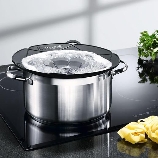 Kochblume® Geniale Idee schafft Überkochen ab. Ideal auch als Mikrowellen-Deckel, Pfannen-Spritzschutz & Dampfgar-Aufsatz.