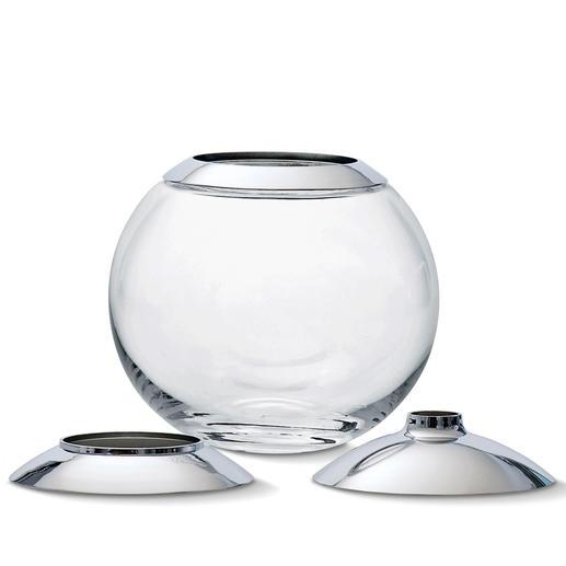 Zum praktischen Verstauen können Sie die 3 kratzunempfindlichen Aufsätze einfach ineinanderstapeln und auf die Vase setzen.