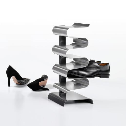 """Schuhregal """"Nest"""" - Geniales Edelstahl-Design verstaut elegant 7 Paar Schuhe – auf der Stellfläche von 1 Paar."""