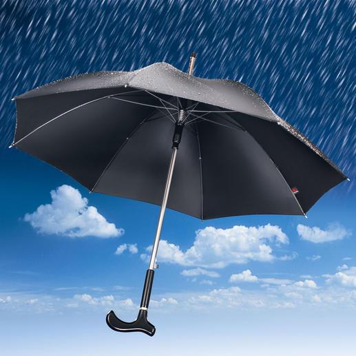 Mit seinem 100 cm Ø Regendach schützt Ihr Gehstock-Schirm auch zwei Personen komfortabel.