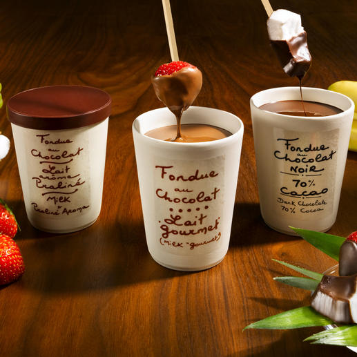 Schokoladenfondue, je Sorte im 2er-Set - Überraschen Sie Ihre Gäste mit einem himmlischen Dessert – ohne Aufwand gezaubert.