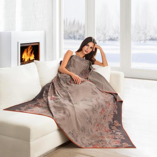 """Edel-Fleece-Decke """"Rose"""" - Leicht und weich wie ein Kaschmir-Plaid. Pflegeleicht wie Ihre Handtücher. Seltener Edel-Fleece mit Baumwolle."""