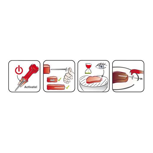 SteakChamp® aktivieren. Seitlich ins rohe Fleisch schieben. Bei schnellem Doppelblitz Steak vom Grill nehmen, nach Ruhephase SteakChamp® aus dem Fleisch entfernen.