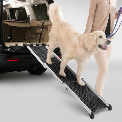 Dogwalk Hunderampe - Rutschfest, gelenkschonend, aluleicht. Überbrückt bequem Treppen und hohe Ladekanten.
