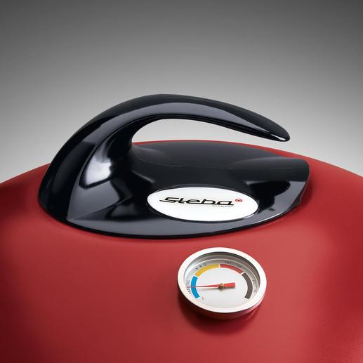 Dank eingebautem Thermometer haben Sie den Temperaturbereich (Warming, BBQ, Grilling, Roasting) immer im Blick.