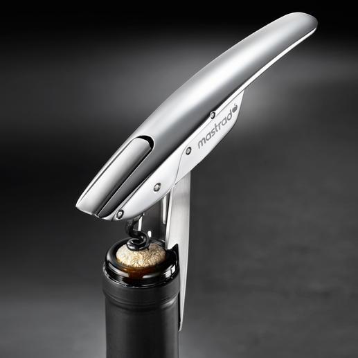 Kellnermesser mit patentierter Hebel-Automatik - Mit patentierter Hebel-Automatik. Einfach eindrehen, 1 x ansetzen, drücken (statt mühsam ziehen) - fertig.