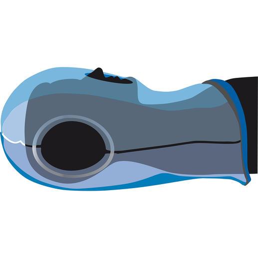 Ostrich Pillow schützt und stützt Ihren Kopf komfortabel. Mund und Nase bleiben zum Atmen frei.