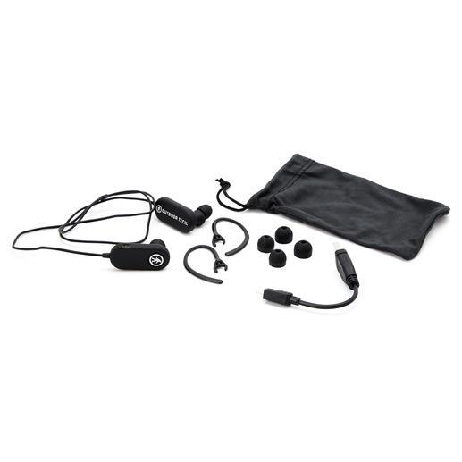TAGS kommt inkl. Sport-Ohrclips, Silikonstöpseln in 3 Größen, USB/Mini-USB-Ladekabel und Stoffbeutel.