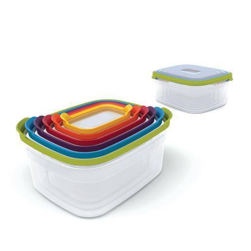 6-in-1 Frischhaltebox - 6 Frischhalteboxen auf kleinstem Raum und immer der passende Deckel zur Hand.