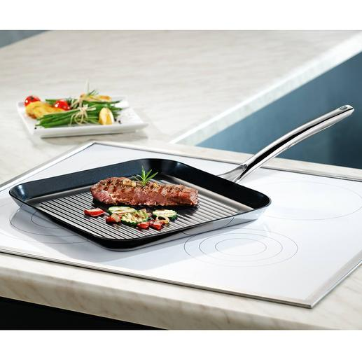 Grillpfanne Vulcano Ceramic - Die bessere Grillpfanne: kratzfest versiegelt. Dennoch hitzefest bis 400 °C. Und induktionsfähig.