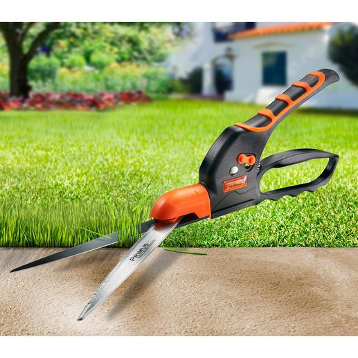 Gezahnte Rasenkanten-Schere Endlich: eine Rasenkanten-Schere mit extrem scharf gezahnter Klinge. Schneidet selbst nasses Gras ohne Quetschen.