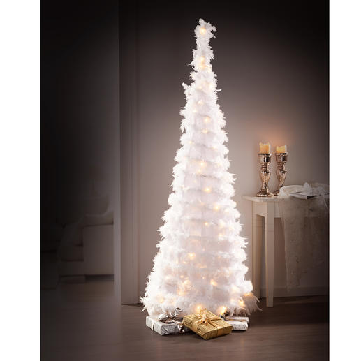 Zauberhafter LED-Federbaum - Herrlich romantisch: der Weihnachtsbaum aus schneeweißen Federn.