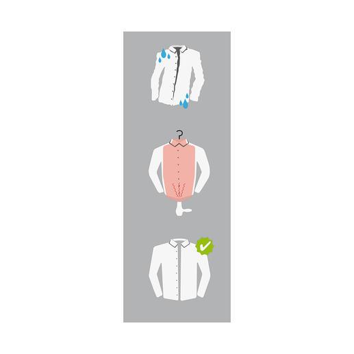Einfach das Hemd befeuchten und über den Mashati ziehen. Von unten mit einem Haartrockner aufgeblasen, leitet er die warme Luft durch den Stoff und glättet ihn sofort.