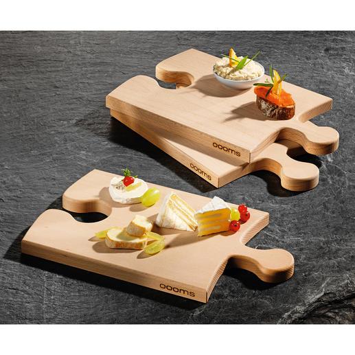Puzzleboard - Ein Blickfang auf Ihrem Buffet. Und genialer Teller-Ersatz bei Partys. Schneide- und Servierbrett aus massivem Buchenholz.