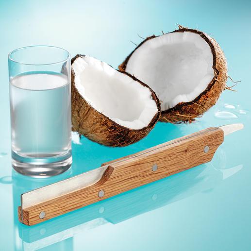 Kokosnuss-Öffner - Frische Kokosnuss – im Nu geöffnet. Sauber zerteilt. Griffig. Sicher. Aus Eichenholz und Edelstahl.