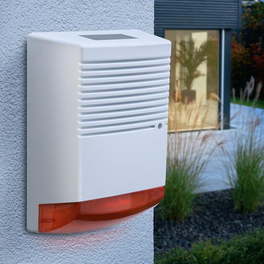 Alarmanlagen-Attrappe mit blinkender LED - Effektive Abschreckung mit minimalem Aufwand. Tag und Nacht.