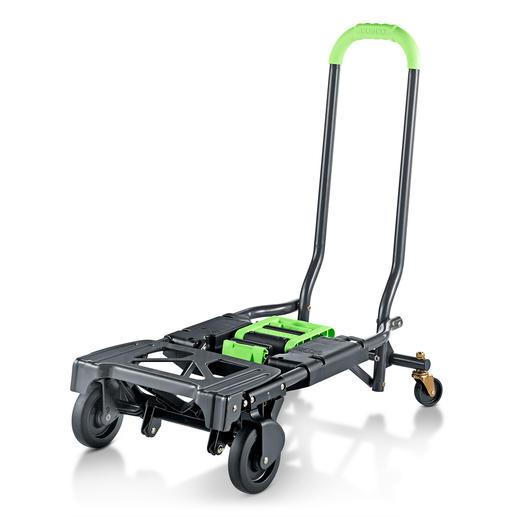 Klappbarer 2-in-1-Transportwagen Doppelt hilfreich: Transportwagen und Sackkarre in einem. Zusammengeklappt 10,5 cm schmal. 6,8 kg leicht. 135 (!) kg Tragkraft.