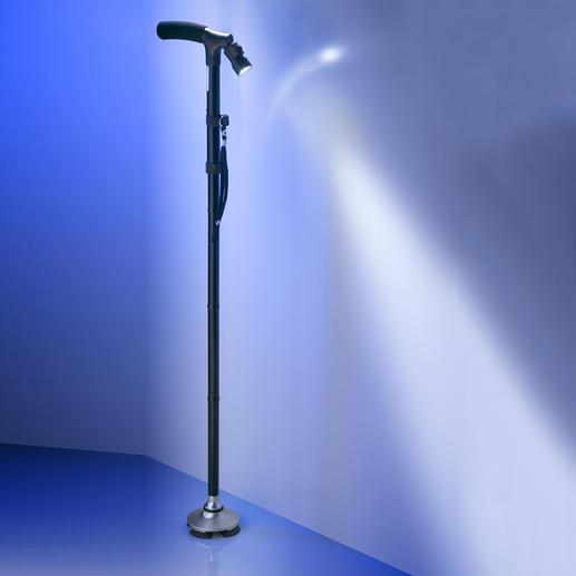 Faltbarer Stand-Gehstock - Immer griffbereit und kippsicher. Dank standfestem Tellerfuß. Zusammengeklappt nur 30 cm lang.