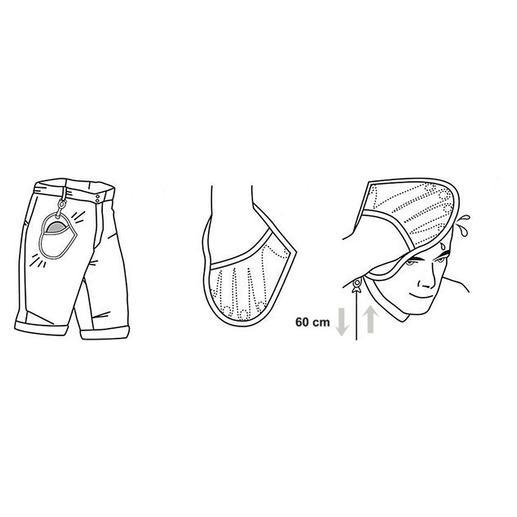 Einfach mit der rechten Hand in den Handschuh schlüpfen und die Kordel bis zur gewünschten Länge ausziehen.