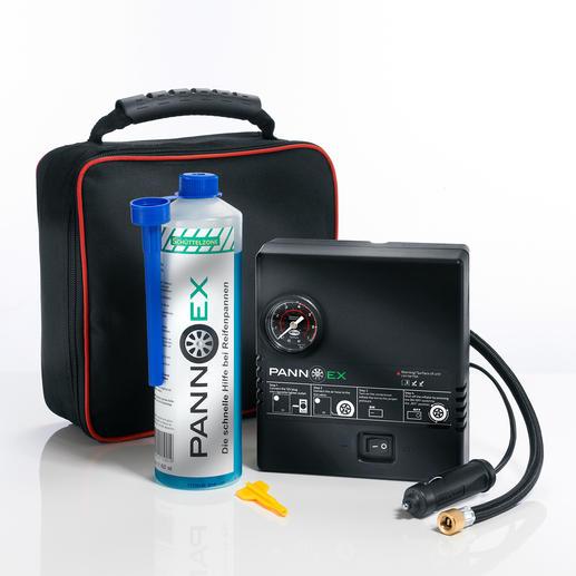 Pannex Reifenpannen-Set, 5-teilig - Das innovative Dichtmittel auf Mikrofaser-Basis. Verschließt Schadstellen bis 8 mm in Minuten.