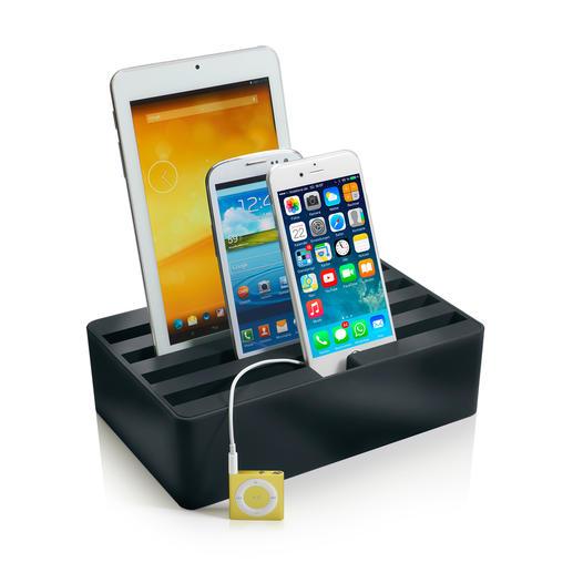 4fach Highspeed-Ladebox - Stylisches Highspeed-Ladedock für bis zu 4 Mobilgeräte gleichzeitig.