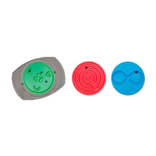 3 Schwierigkeitsgrade (von rechts nach links): leicht (liegende Acht), mittel (Labyrinth) und schwer (Korbball).