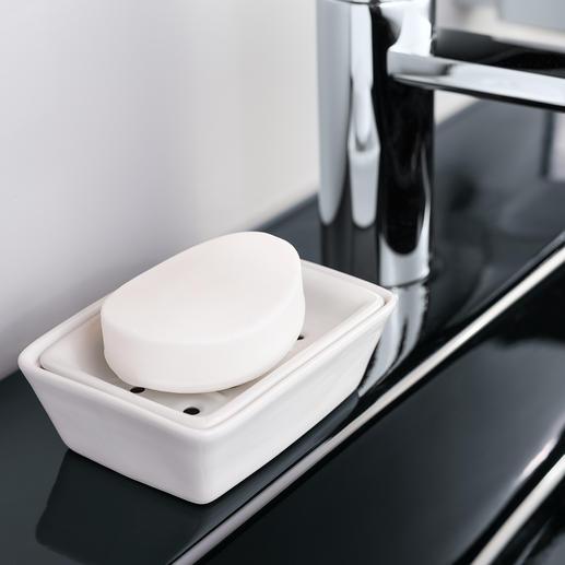 Porzellan-Seifenschale Gute Neuigkeiten für Ihre edelsten Feinseifen. Dank Doppelschale lagern sie hygienisch trocken & leben länger.
