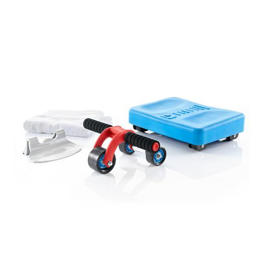3-Rad-Bauchmuskel-Roller - Die Weiterentwicklung des klassischen AB-Rollers: 3 kleine Räder statt eines großen.