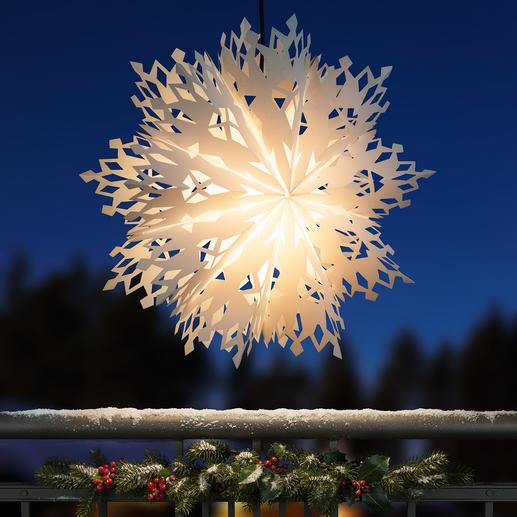 Leuchtende Schneeflocke - XXL-Format. Filigranes Scherenschnitt-Muster. Topaktuell für drinnen und draußen.
