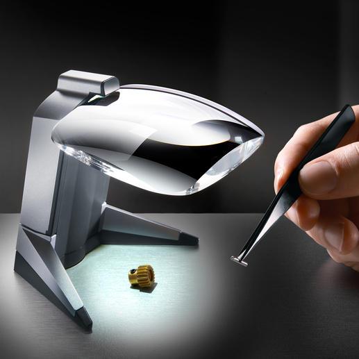 LED-Standlupe Scribolux - Leistungsstarke Präzisions-Lupe mit weitem Sehfeld und gestochen scharfem Bild.