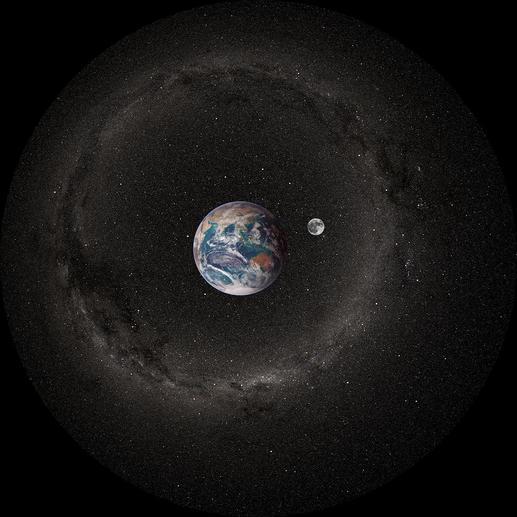 Projektionsscheibe: Erde und Mond bei Tag