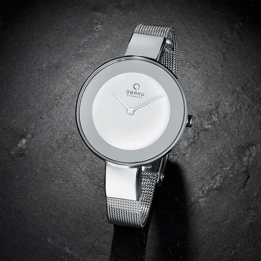 Milanaise-Armbanduhr Leicht. Flach. Filigran: Armbanduhr und modisch schmales Armband in einem. Von Obaku, Dänemark.