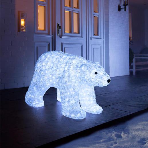 LED-beleuchteter Polarbär - Glitzernd wie Eis. Und auf Wunsch sensationell illuminiert. Eine majestätische Erscheinung drinnen und draußen.