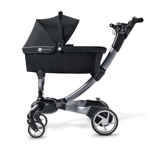 Der separat erhältliche Babykorb ist mit Sonnenschutz, Tragegriff, Soft-Matratze und Fußsack ausgestattet.