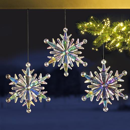 Regenbogen-Eiskristall, 3er-Set - Prächtige Eiskristalle aus irisierendem Acryl: Schillernder Blickfang Ihrer Winterdekoration.