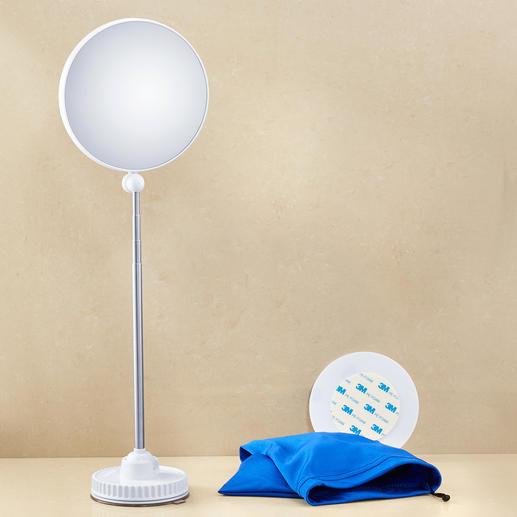 Dank Vakuum-Saugnapf steht der Spiegel auch auf jeder glatten Tischfläche, jedem Waschbecken sicher.