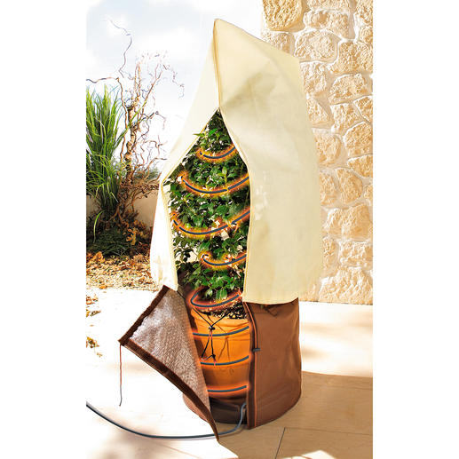 Dank praktischem Klettverschluss sind Pflanztöpfe im Nu eingepackt.