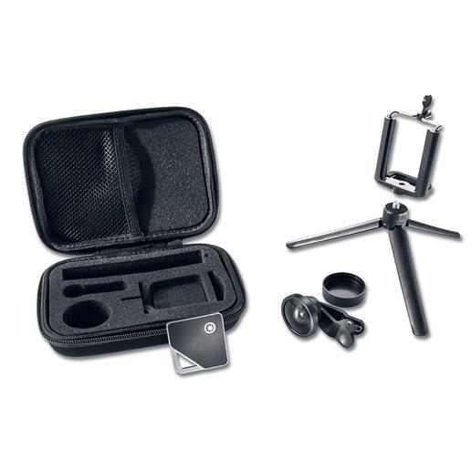 Reißverschluss-Etui, Fernbedienung, Weitwinkellinse, Mini-Stativ und Smartphone-Halter.