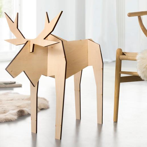 Holz-Elch Pierre Fernab vom üblichen Weihnachtskitsch: modern gestaltete Elch-Figuren. In nur 10 Sekunden aufgestellt.