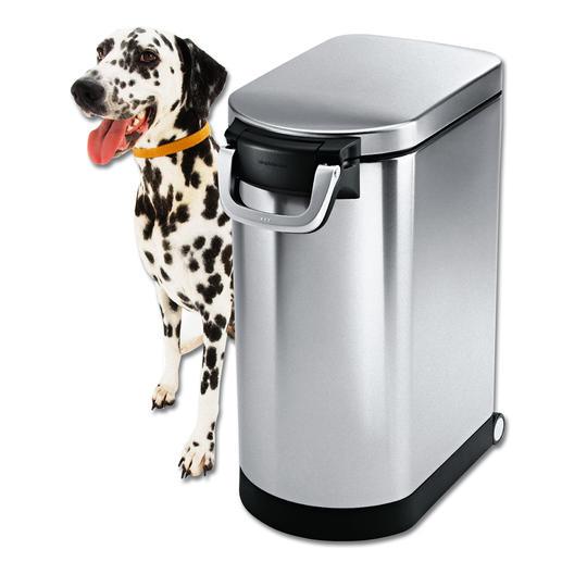 Edelstahl Tierfutterbehälter - Riesig geräumig. Platz sparend. Bequem rollbar. Und hygienisch sauber zu halten.