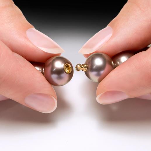 """Tahiti-Zuchtperlen-Collier """"chocolate"""" Das perfekte Perlen-Collier zum Nude-Trend der aktuellen Mode. Kostbare, schokobraune Tahiti-Zuchtperlen."""