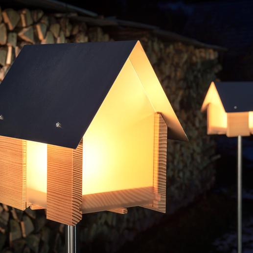 Lichthaus - Spektakuläres Lichthaus statt einfaches Windlicht. Moderne Architektur aus Massivholz, Edelstahl und Acrylglas.