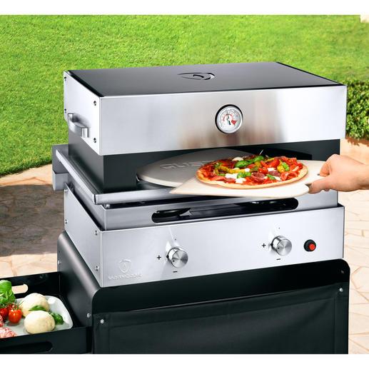 Einfach auf die Grillplatte gestellt, ist der Pizzaofen mit Keramikstein optimal für knusprige Pizzen und Brote.